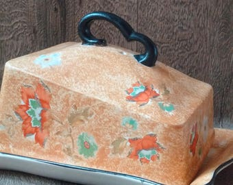 RARE ART DECO Covered Butter Dish by Kiralpo Potteries England // 1930 Art deco breakfast item in orange & turquoise // art deco kitchenalia