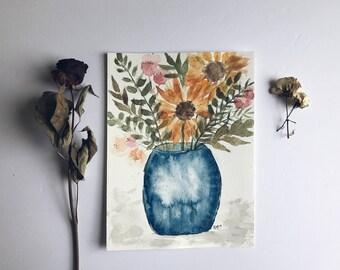 Sunflowers in vase - Original Painting