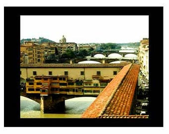 Ponte Vecchio Florence Italy Photography Bridge Art Florence River Print Florence Sepia Photo Firenze Wall Decor Art and Collectibles