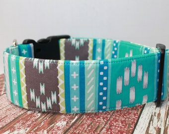"""Mint Green Aztec / Geometric Dog Collar /  Tribal Inspired /  Southwest / Stripped / Navajo """"The  Peacock"""""""