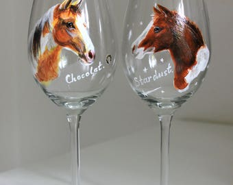 Pet Portrait on wine glass, horse, Shot glass Hand Painted