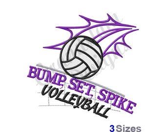 Bump Set Spike Volleyball - Machine Embroidery Design