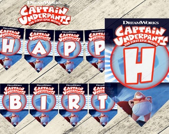 Captain underpants banner,captain underpants birthday banner,captain underpants birthday party,captain underpants printable,captain under