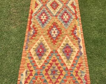 Article # 5376 VEGETABLE DYED Hand Made Chobi Kilim Runner Rug Double Face Design 202 x 67 cm - 6.6 x 2.2 Feet