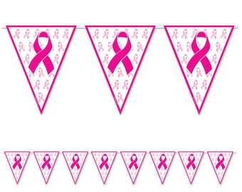 Breast Cancer Awareness Pennant Banner/ Breast Cancer Awareness Decor/ Breast Cancer Awareness