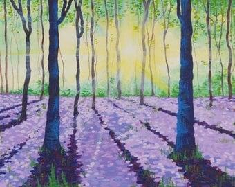 Lavender Fields - Acrylic Painting - Landscape Painting - Art Print - Forest Landscape - Forest Painting - Wall Art - Wall Decor