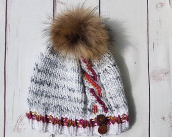 womwn hat , Pink twisted hats, real removable fur