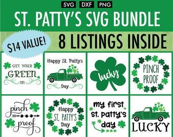 St Patty's Day SVG Bundle - Cut File/Vector, Silhouette, Cricut, SVG, PNG, Clip Art, Download, Clovers, St. Patrick's Day, Truck, Wreath