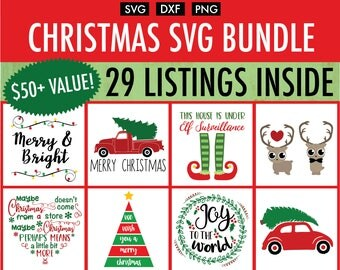 Christmas SVG Bundle - 25+ Designs - Cut File/Vector, Silhouette, Cricut, SVG, PNG, Clip Art Download, Holidays, Truck, Calligraphy, xmas