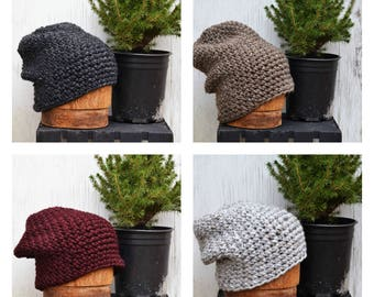 Slouchy Beanie Winter Hats for Adults, Thick Cozy Hats for Men, Mens Hats, Knitted Hat, FREE SHIPPING, His and Her Gifts
