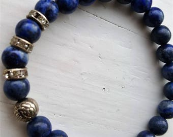100%  gemstone natural Lapis Lazuli elastic bracelet