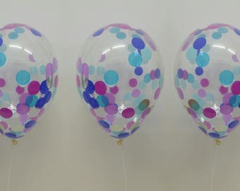 Mermaid Confetti Balloon, Mermaid Party, Mermaid Theme, Pretty Coloured Mermaid Confetti Balloon, Set of 3 - 30cm Balloons