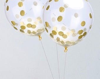 Gold Confetti Balloons, BIG 43cm Confetti Balloon, Gold Confetti, Clear Balloon with Gold Confetti, Pkt of 3 Balloons 43cm in size