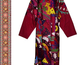 very special uzbek silk handmade embroidered robe chapan jacket kaftan coat b299