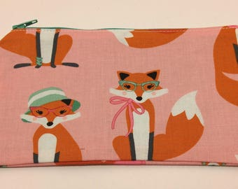 Granny Fox Print Novelty Zipper Pouch - makeup bag; pencil case; gift for her; cosmetic bag; carry all; gadget case; birthday; bridesmaids