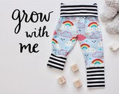Grow With Me Pants - Baby Toddler Leggings - Rainbows Clouds Stripes