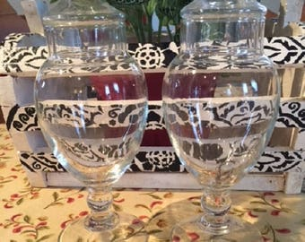 Apothecary Jar Glass Candy Buffet Jars with Lids  Set of 2