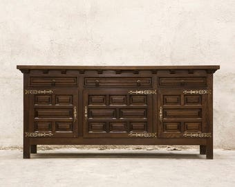 Spanish Vintage Sideboaurd Buffet with decorative Hinges