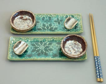 sushi set, turquoise ceramic sushi dishes, serving plates set, dinner plates, rectangular plates, ceramic plates, stoneware plates