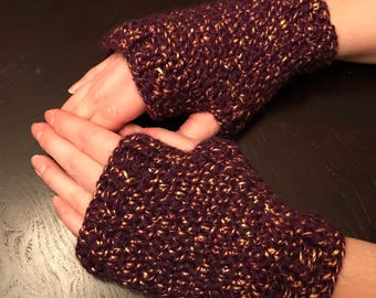 Purple and Gold Fingerless Gloves