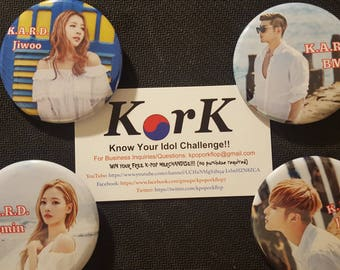 """K.A.R.D. Members 2.5 inch """"Hola Hola"""" Pinback Buttons"""