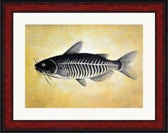Original Catfish Painting, Acrylic Painting on Canvas Board