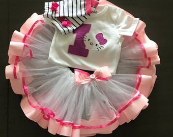 Birthday outfit- hello kitty birthday-tut first birthday custom-Girl birthday set,birthday gift-hello kitty-cute tutu outfit,
