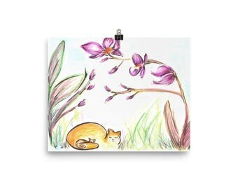 Cat Orchid watercolor illustration Poster. Wall Art. Home Decor.