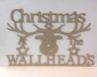 Christmas mdf hanging signs with surname