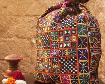 Vintage Multicolored Thread Rajput Embroidered Bag