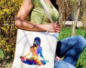 Yoga tote bag -  Fitness shoulder bag - Fashion canvas bag - Colorful printed market bag - Gift Idea