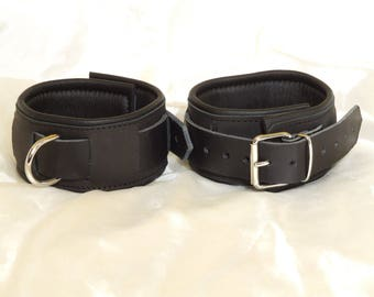 Leather ankle cuffs, leather, padded, adjustable, economic line