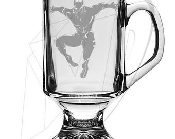 Black Panther Marvel Irish Mug, Black Panther Avengers Etched Glassware, Black Panther Movie Etched Glass, Custom Glass, Personalized Glass