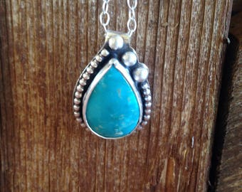 Serene blue Fox Turquoise and sterling silver pendant