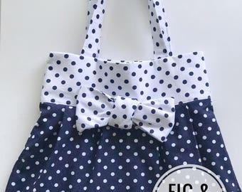 Navy Polka dot Tote Bag with bow, Library bag, book bag, toy bag, preschool bag, girls bag