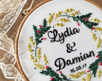 Floral wedding embroidery,Embroidery hoop,Hand embroidery,Custom embroidery,Personalized embroidery,Anniversary gift,Modern embroidery