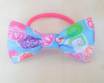 Blue Pattern Hair Bow Bobble, Fabric Bow Hair tie, Bow Hair Elastic
