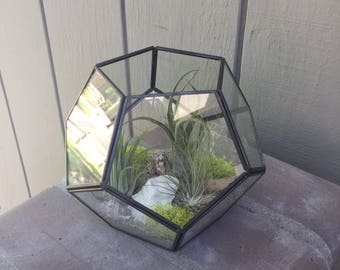 Glass Geometric hexagon Terrarium with Air Plants, KIT to make terrarium, DIY kit to make your own terrarium, 2 sizes, air plants, terrarium