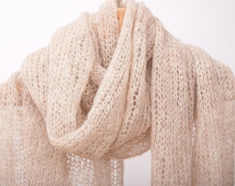 Knit Wool Scarf / Mohair Scarf / Knit Mohair Wrap /  Handknited Mohair Scarf / Alpaca wool mohair scarf / Knited Mohair Scarf