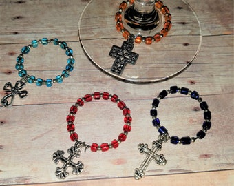 Christian Crosses Wine Glass Charms for your next party, gathering or dinner stemware, coffee mug,  tea cup, stein, drink etc.