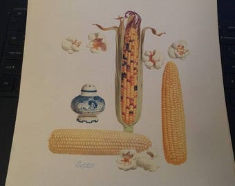 "Vintage 1950's Morton Salt / Pertchik set of 4 Art Prints, 10"" x 9"""