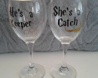 Harry potter glasses, she's a catch and he's a keeper