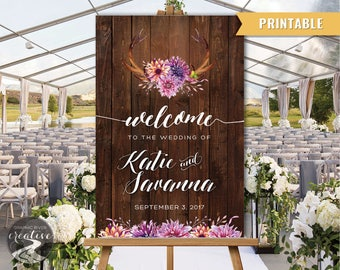 PRINTABLE Personalized Rustic Barn Board Welcome Wedding Sign, Antler Purple Boho Floral Wedding Poster Welcome to Wedding Sign Digital File