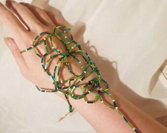 Shiny Green Bead Woven Gauntlet
