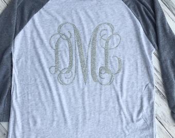 Monogram Raglan Tee- Glitter Raglan- Monogram Shirt- Womens Raglan- Teacher Gift- Womens TShirt