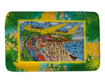 Extra large bathmat for Caribbean lovers! Sint Martin, Runway 10. The friendly island. Caribbean holiday memory! Cocktails, holiday and fun.