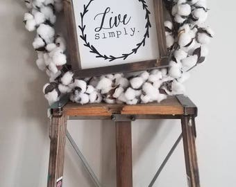 "Live simply gorgeous farmhouse sign. 8x8"" rustic wood frame sign. Live simply."