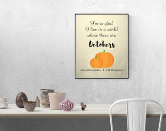 Fall Decor, INSTANT Download, Anne of Green Gables, Wall Art