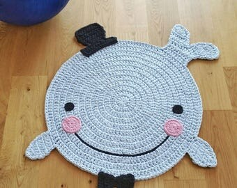 "Children's rug ""Whale"" / whale carpet / 75 cm"