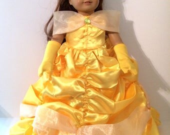 18 Inch Doll Clothes Belle Gown In a Bright Yellow With Satin and Organza From Beauty and the Beast Fits Like American Girl Doll Clothes